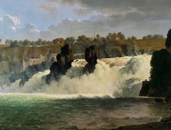 Das Wasser mag wundervoll toben, doch gefährlich wird es nicht. Johann Jakob Biedermann (1763–1830) malte den «Rheinfall bei Schaffhausen» inmitten einer festen Landkulisse und in mildem Sonnenschein.