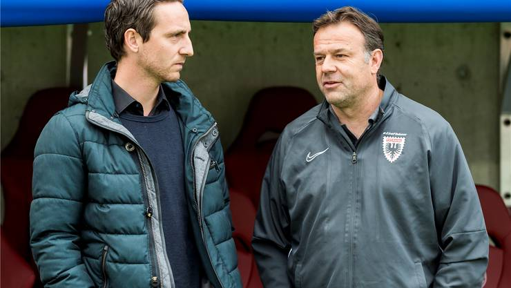 Sportchef Sandro Burki (links) und Trainer Patrick Rahmen verhandelten mit dem FCB.
