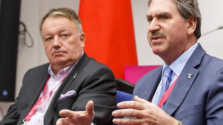 ITF-Präsident David Haggerty (r.) und Vize-Präsident René Stammbach haben die Reform portiert.