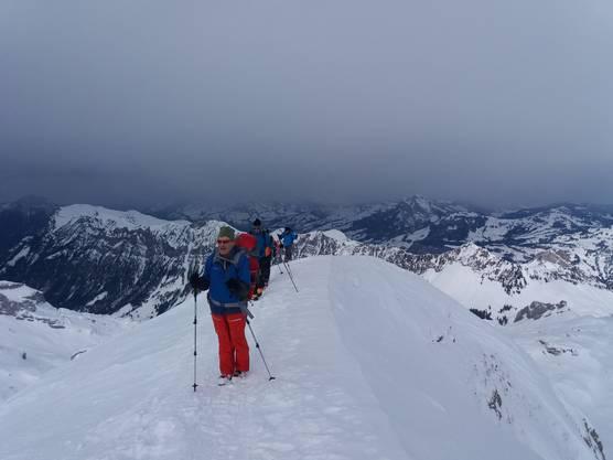Auf dem Grat zum Gipfel.