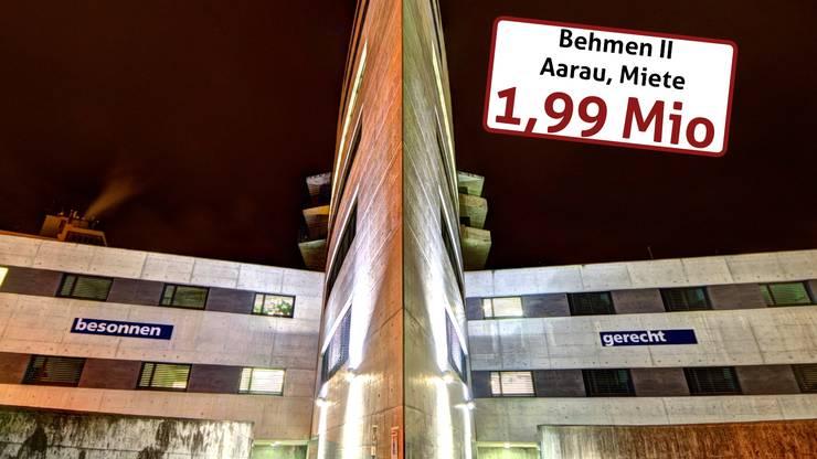 Im «Behmen II» beim Bahnhof Aarau ist der Kanton eingemietet (Bildungs- und Gesundheitsdepartement) und zahlt 1,99 Millionen Franken Miete jährlich.