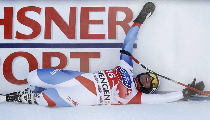 Als Sieger im Ziel: Beat Feuz 2012 am Lauberhorn.