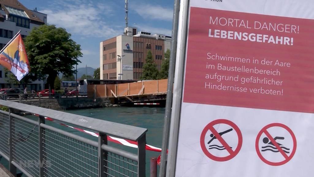 Aareschwimmen in Thun wegen Baustelle lebensgefährlich