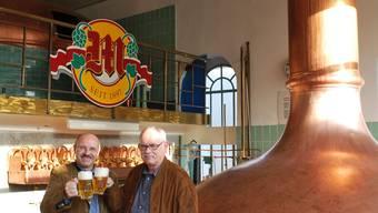 Ansicht des heutigen Sudhauses. Innenansicht mit Geschäftsführer Felix Meier und Projektleiter Martin Seiler (rechts).