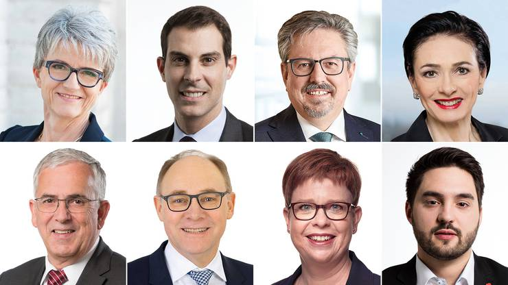 Die Kandidaten, die am Podium in Baden auftreten, von links oben nach rechts unten: Maya Bally (BDP), Thierry Burkart (FDP), Beat Flach (GLP), Marianne Binder (CVP), Roland Frauchiger (EVP), Hansjörg Knecht (SVP), Ruth Müri (Grüne) und Cédric Wermuth (SP).