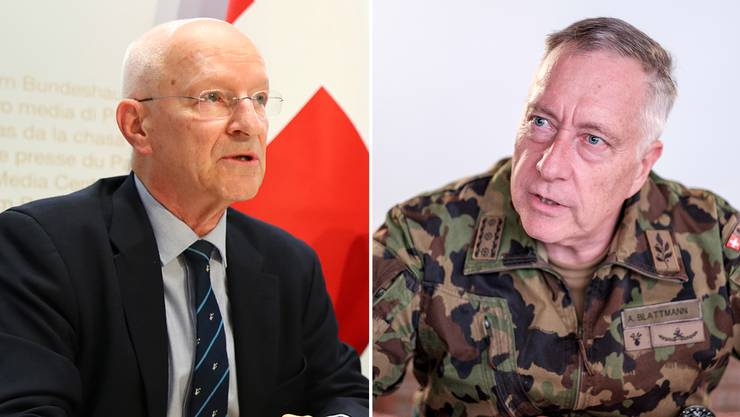 Claude Nicollier (links) und Ex-Armee-Chef André Blattmann.