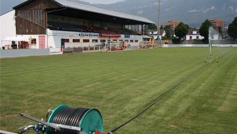 Ein perfekter Rasen ist für das Top-Spiel absolute Voraussetzung – derzeit ist im Stadion vor allem Wasser gefragt.
