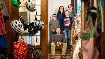 Andreas und Petra Frey mit Tochter Janna und den Söhnen Marius und Niklas haben schon mehrfach im «anderen Lager» mitgeholfen.