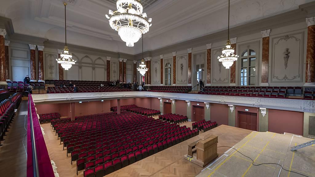 Im frisch sanierten Musiksaal des Basler Stadtcasinos werden 15 Zuhörende mit Maske Platz nehmen können.