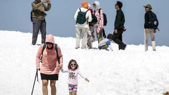 Touristen geniessen die sommerlichen Temperaturen auf dem Titlis im Schnee: Im Juli haben erneut mehr Ausländer hierzulande übernachtet. Besonders die Lust der Amerikaner, die Schweiz zu bereisen, nimmt zu. (Symbolbild)