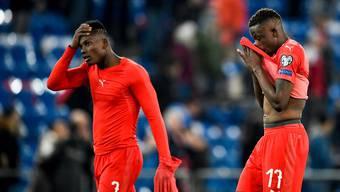 Fassungslos: Breel Embolo (links) und Denis Zakaria nach dem 3:3-Unentschieden gegen Dänemark.