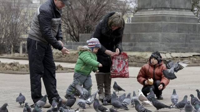 Rückkehr zur Normalität? Eine Familie füttert bei Donezk Tauben