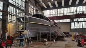 Die Stahlarbeiten am Schiffsrumpf der neuen Schiffes wurde in Linz abgeschlossen.