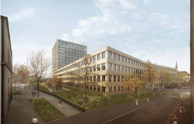 So wird das neue Klinikum 2 vom Petersgraben her aussehen.