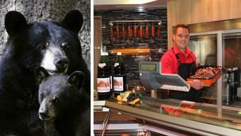 Geschäftsführer Thomas Peterhans präsentiert seinen Bestseller: Fertig gekochter Rehpfeffer. An der Metallstange trocknen seine Bärensalamis.