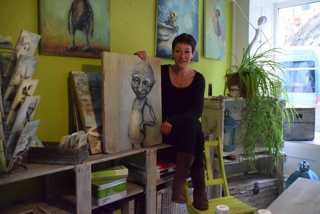 Simone Meier zeigt ihre Werke im eigenen Grafik-Atelier an der Bremgartner Rechengasse.