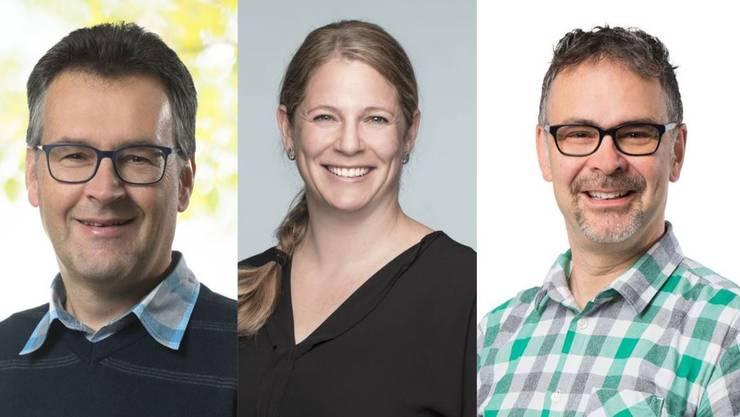 Die drei neuen Einwohneräte Ueli Frey (EVP), Géraldine Bruder-Wismann (SP) und Reto Biancchi (GLP)