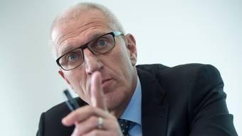 Pierin Vincenz, ehemaliger Vorsitzender der Geschäftsleitung Raiffeisen Gruppe, während einer Pressekonferenz im Januar 2014 in Bern.