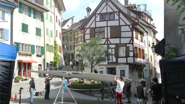 Hollywood-Feeling in Baden: Drei Tage lang ist in der unteren Altstadt für den neuen Papa Moll-Film gedreht worden. Nicola Imfeld