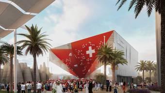Der Schweizer Pavillon an der Expo 2020 ist spektakulär. Philip Morris unterstützt den Auftritt als «Main Partner». (Visualisierung: EDA/Präsenz Schweiz)
