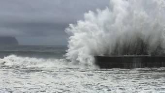 """Ausläufer des Taifuns """"Nepartak"""" sorgen auf Taiwan schon für hohe Wellen"""