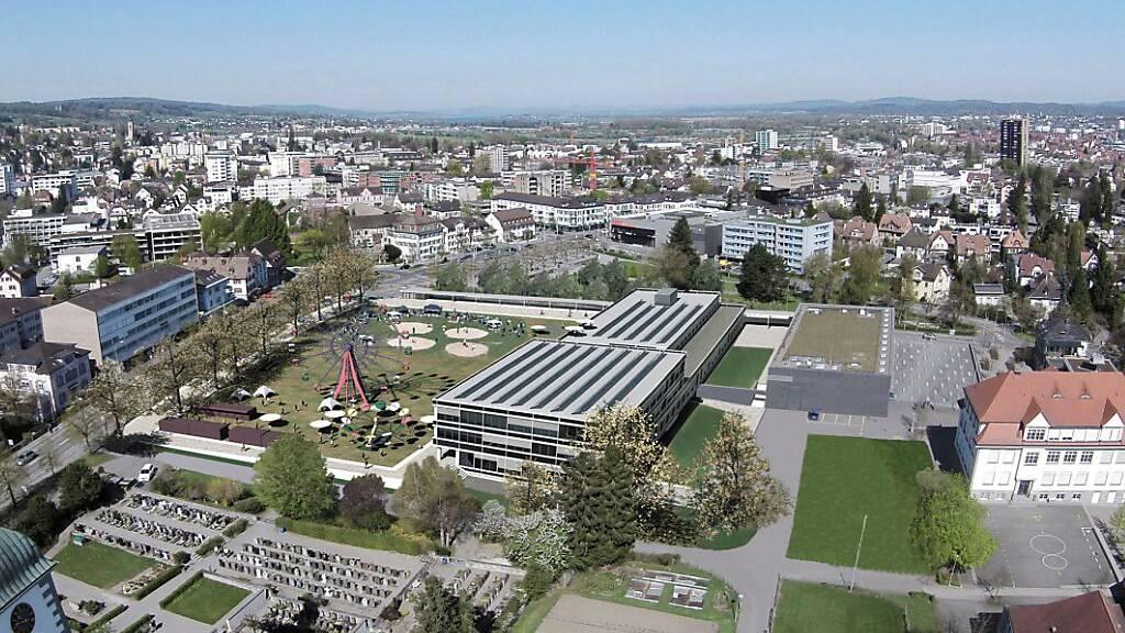 Visualisierung des geplanten neuen Kreuzlinger Stadthauses auf der Festwiese. Nach dem Ja zur Initiative für eine Freihaltung dieses Standorts am 7. März muss der Stadtrat jetzt eine neue Vorlage ausarbeiten.