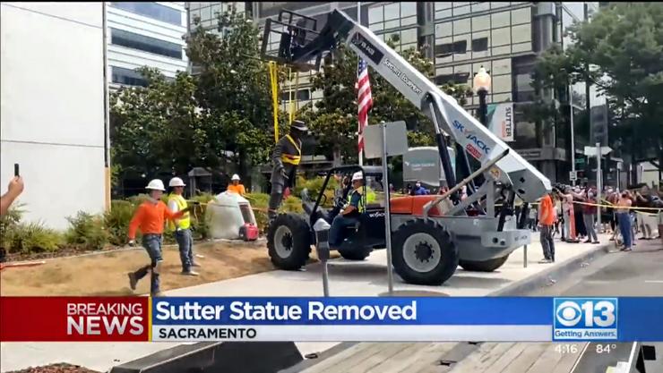 Die Bronze-Statue von Johann August Sutter wurde entfernt.