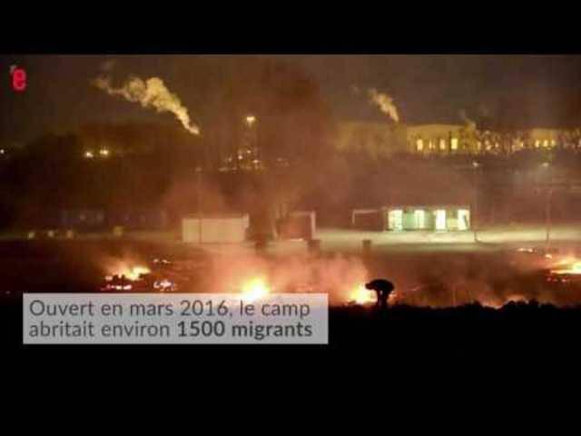 Bilder des verheerenden Brands im Flüchtlingscamp in Nordfrankreich