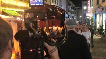 """Dreharbeiten zum Kurzfilm """"Breaking Badenfahrt"""" mit Hansrudolf Twerenbold"""