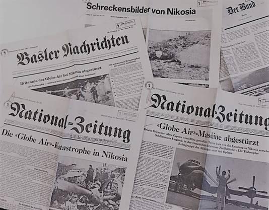 Schlagzeilen nach dem Globe-Air-Absturz in den Schweizer Tageszeitungen. Der Absturz war bis dahin der schwerste in der Geschichte der Schweizer Luftfahrt.