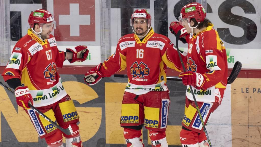 Die Spieler des EHC Biel stehen am Samstag in Genf wieder im Einsatz