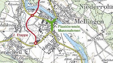 Umfahrungsprojekt: 1. Etappe: Bahnhof bis Birrfeldstrasse; 2. Etappe: Birrfeldstrasse bis Lenzburgerstrasse. (swisstopo/AG)
