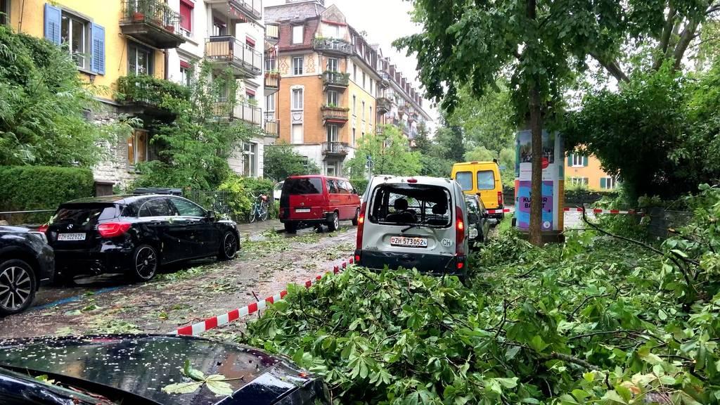 Chaos und Verwüstung in Zürich nach schwerem Hagelsturm