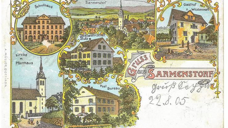 Postkarte aus Sarmenstorf, verschickt 1905 an einen unbekannten Empfänger.