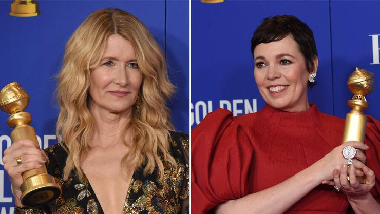 Holen für Netflix die Kastanien aus dem Feuer: Laura Dern (links) erhält einen Golden Globe für ihre Nebenrolle in «Marriage Story», Olivia Colman einen für ihre Rolle in «The Crown».