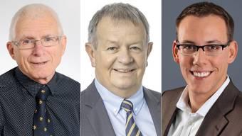 Georg Schellenberg (SVP), Theodor Hafner (FDP) und Fabian Gloor (CVP)