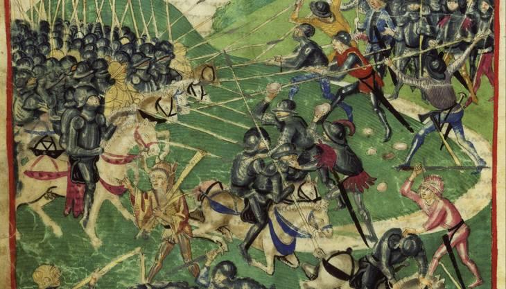 Hauen und Stechen am Morgarten: Die Eidgenossen schlagen die Soldaten des Herzogs Leopold in die Flucht.