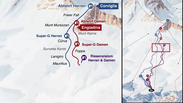 Animierte Grafik: Die WM-Strecken in St.Moritz