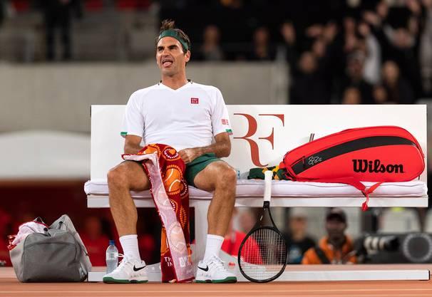 Roger Federer beim Match in Africa in Kapstadt.