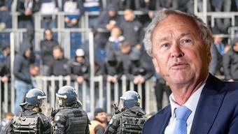 Luzerner Polizisten im Stadion. Sicherheitsdirektor Paul Winiker
