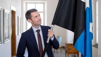 Die Menschen im Aargau seien ihm ans Herz gewachsen, sagt Peter Grünenfelder. Mit Stolz trägt er die Aargauer Fahne.