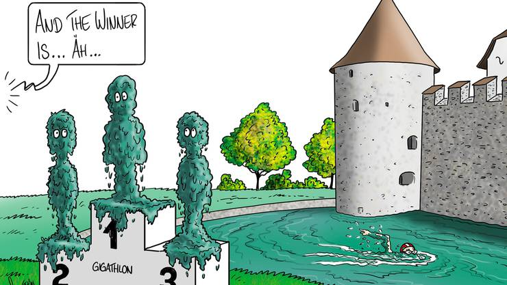 Die Organisatoren des Gigathlon 2015 wollen ein Sprintschwimmen im Burggraben von Schloss Hallwyl durchführen.
