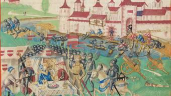 Die Belagerung von Solothurn 1318 in der Stumpff-Chronik.