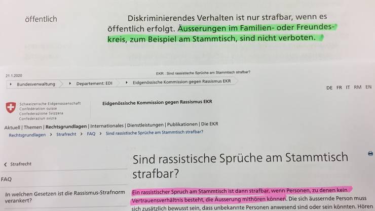 Widersprüchliche Angaben zum Stammtisch: Im Abstimmungsbüchlein (in grün) steht nicht dasselbe wie auf der Homepage der Eidgenössischen Kommission gegen Rassismus (in rot).