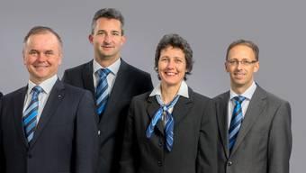 Ein Teil der Geschäftsleitung der künftigen Aargauer Bahn (Fusion von WSB und BDWM): Severin Rangosch, Daniel Giger, Catherine Spiegel, Stefan Bosshard (v.l.).