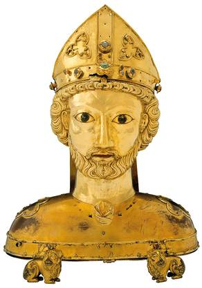 Büstenreliquiar des hl. Pantalus aus dem Basler Münsterschatz (n. 1270)