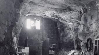 Die Kreuzung auf der 1. Etage mit englischer Weiche im Bergwerk anno 1950. ZVG
