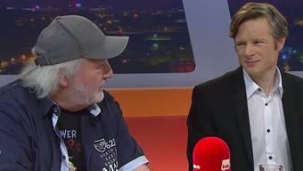 Peach Weber (l.) und Jonas Fricker auf Seiten der Ausstiegs-Befürworter.