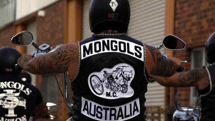 Motorradmarsch eines australischen Charters der Mongols.