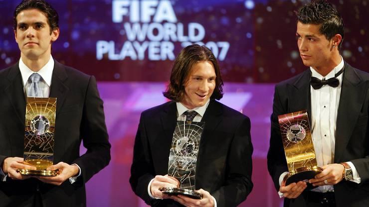 Kaka verwies Messi und Ronaldo 2007 auf die Plätze 2 und 3. Seither hat das Duo den Weltfussball dominiert.